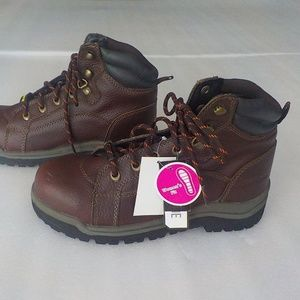 Brown Leather Heavy Steel Toe Tie Boots - NWT